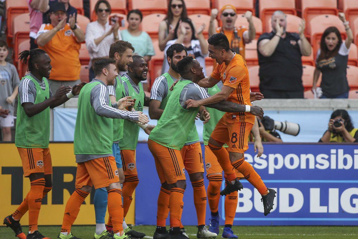 Dynamo forward Manotas celebrates his game winning goal vs the Impact